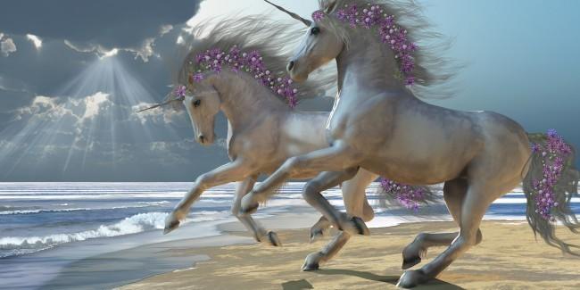 Unicorns Frolic on the Beach