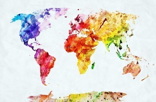 Watercolor world map multicolour colours canvas prints watercolor world map gumiabroncs Image collections