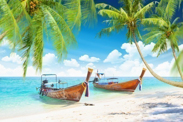 Tropical islands with boats