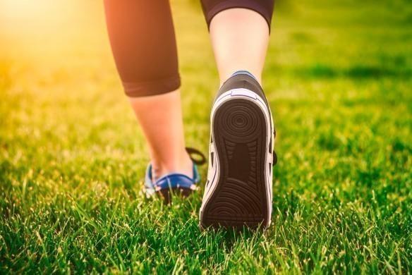 Green grass, woman fitness