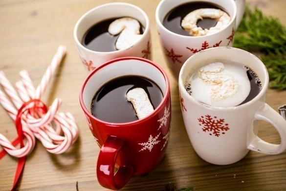 Four mugs of Hot chocolate