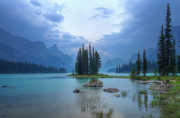 Spirit Island in the Canadian Rockies