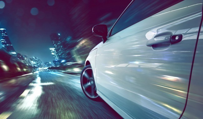 Speedy car at night