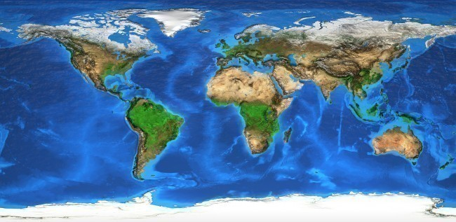 World map and landforms