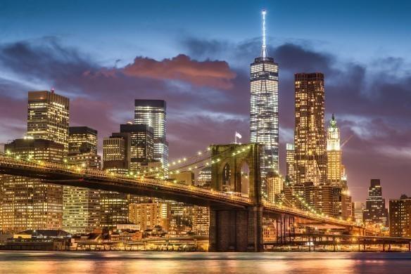Brooklyn Bridge at twilight time in New York