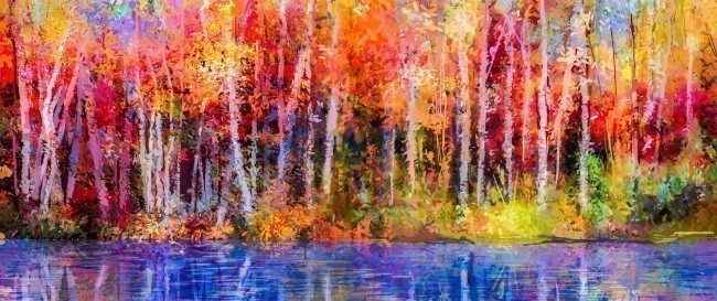 Oil painting colourful autumn trees