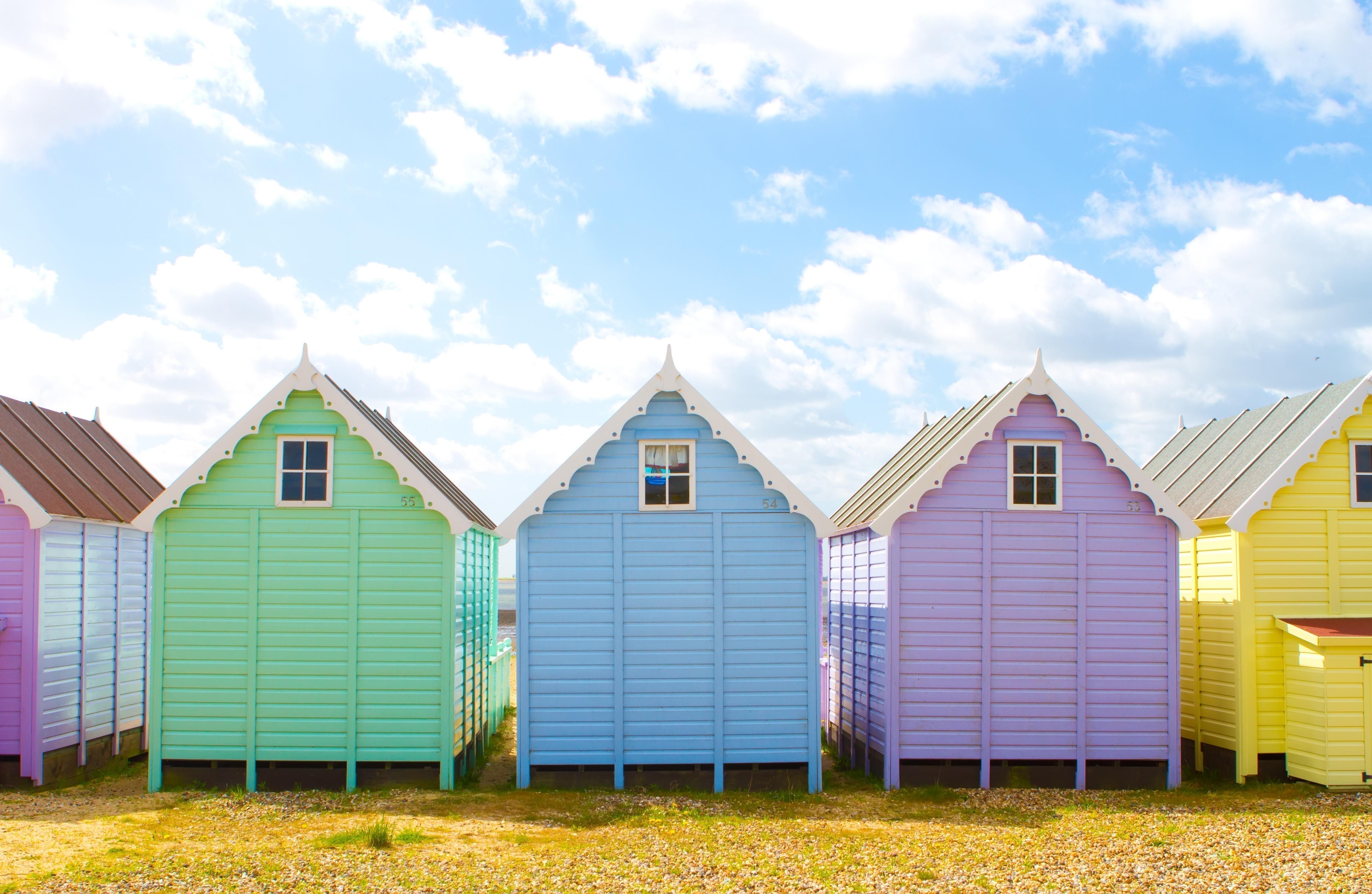 Traditional British Beach Huts Multicolour Colours