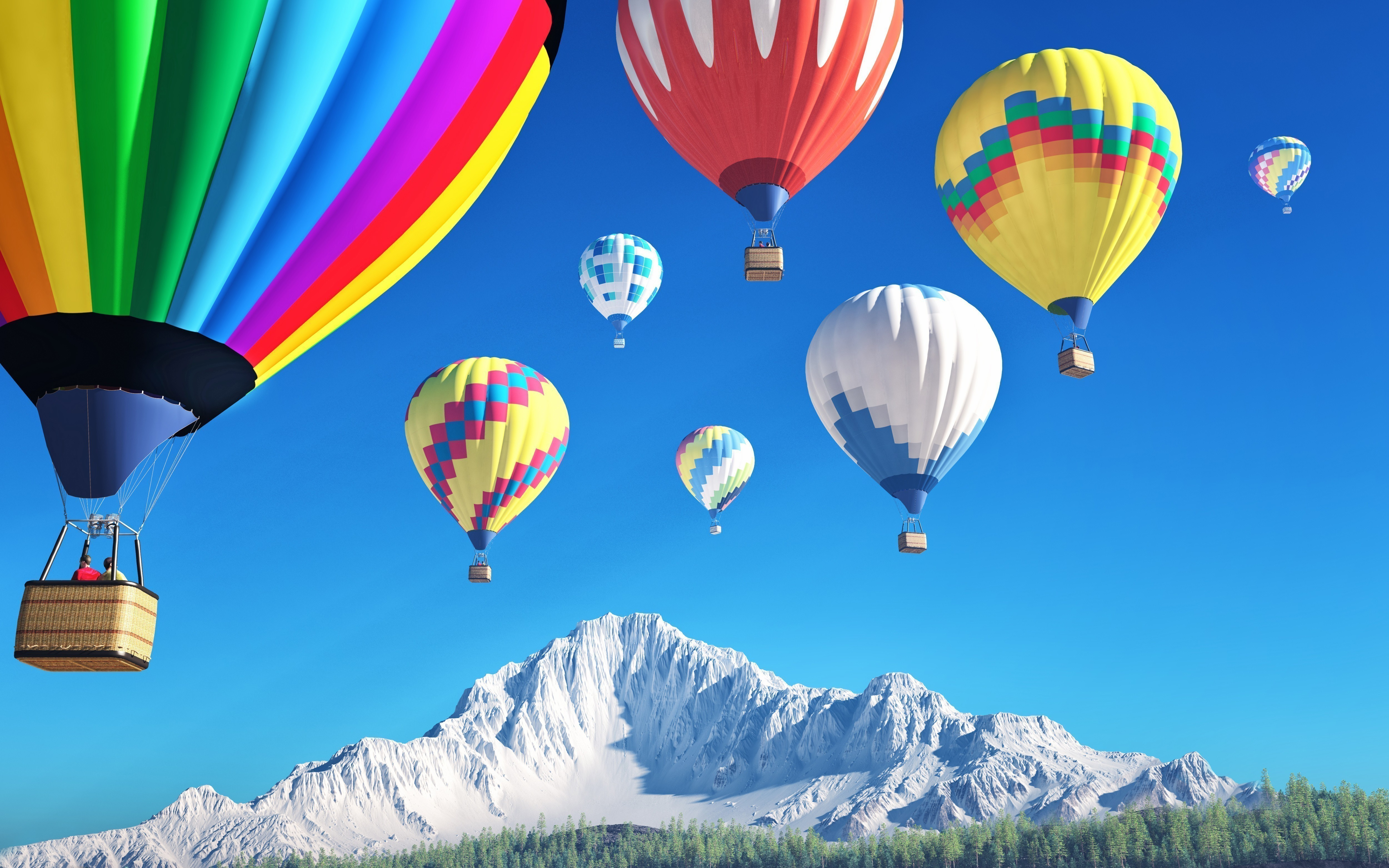 Brightly Colored Hot Air Balloons Multicolour Colours