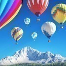 Brightly colored hot air balloons