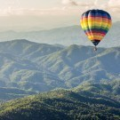 Hot balloon over the mountain