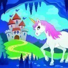Cute unicorn in fairy tale cave