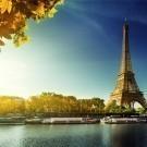 Seine in Paris with Eiffel tower in autumn season