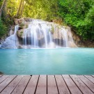 Deck over a waterfall