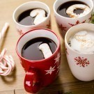 Four mugs of Hot chocolate
