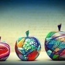 Wooden apples painted by hand