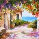 Oil painting - house by the sea