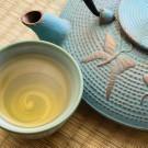 Oriental cast iron tea pot with tea cup on tatami mat