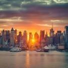 Cloudy sunrise over Manhattan