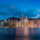 Hong Kong Victoria Harbor in magic hour