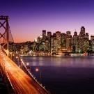 San Francisco skyline and Bay Bridge at sunset
