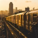 Train in New York at Sunset