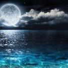 Romantic full moon on sea