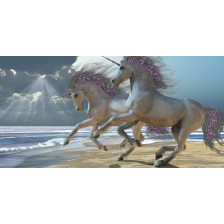 Unicorns Frolic on the Beach