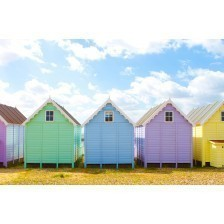 Traditional British beach huts