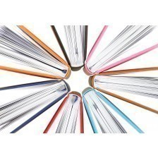 Top view of colorful books in a circle