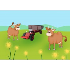Cows and Tractor Cartoon