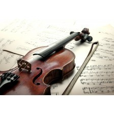 Old scratched violin with sheet music