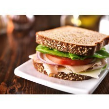 Turkey sandwich on whole wheat with swiss cheese