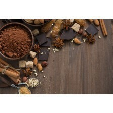 chocolate, cocoa, nuts and spices