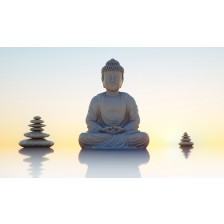Buddha statue and stone towers