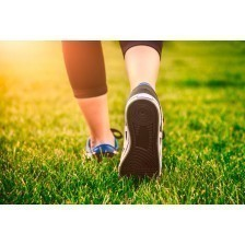 Green grass, woman fitness