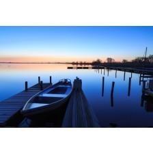 Tranquil, spring dawn in a small marina at a lake.