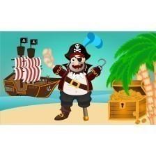 Treasure Island with pirate and treasure and pirate ship