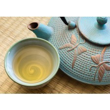Oriental cast iron tea pot with tea cup on tatami mat