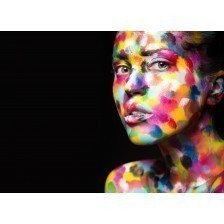 Girl with colored face painted