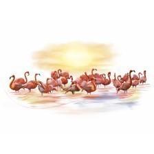 Pink Flamingos Watercolour