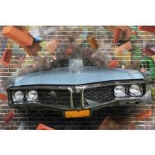 Graffiti car on a brick wall